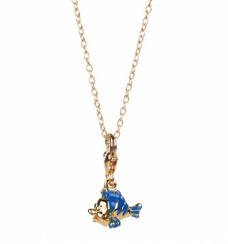 14kt Gold Plated Little Mermaid Flounder Charm Necklace from Disney Couture
