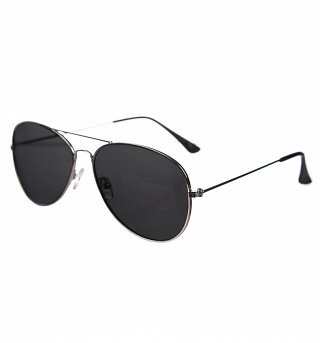 Black Lens Silver Frame Polarised Aviator Sunglasses