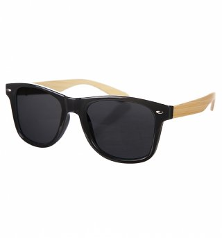 Black Wayfarer Sunglasses With Bamboo Arms