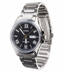 Casio Collection Silver Analogue Black Dial Watch MTP-1377D-1AVEF