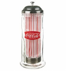 Coca-Cola Fishtail Logo Heavy Glass Straw Dispenser