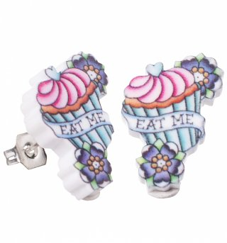 Eat Me Wonderland Tattoo Stud Earrings from Punky Pins