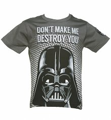 Kids Charcoal Darth Vader Destroy You Star Wars T-Shirt from Fabric Flavours