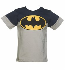 Kids DC Comics Batman Logo Colour Block Pocket T-Shirt from Fabric Flavours