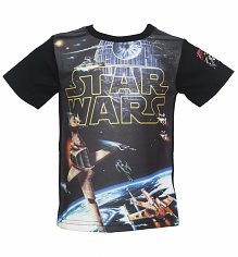 Kids Star Wars Logo Spacescape T-Shirt from Fabric Flavours