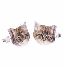 Kitten Face Stud Earrings from Punky Pins