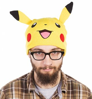 Knitted Yellow Pikachu Pokemon Beanie Hat With Ears