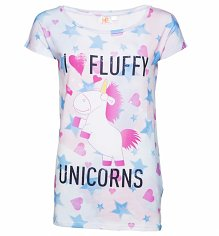 Women's All Over Print I Love Fluffy Unicorns Minions T-Shirt
