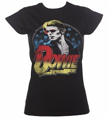 Ladies Black David Bowie Smoking T-Shirt
