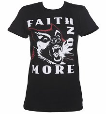 Women's Black Faith No More Dog Rolled Sleeve Boyfriend T-Shirt