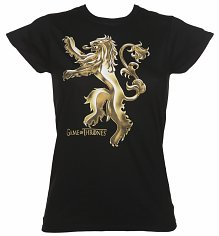 Ladies Black Lannister House Logo Game Of Thones T-Shirt