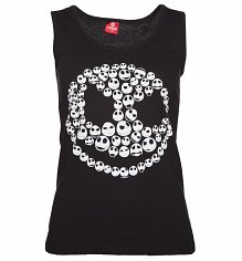 Ladies Black Nightmare Before Christmas Glow In the Dark Jack Skellington Skulls Vest