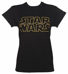Ladies Black Star Wars Logo Rolled Sleeve Boyfriend T-Shirt