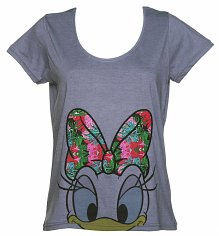 Ladies Blue Daisy Duck Floral Bow Disney Scoop Neck T-Shirt from Eleven Paris