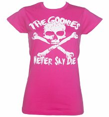 Women's Bright Pink Goonies Never Say Die T-Shirt