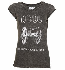 Women's Charcoal Burnout AC/DC About To Rock T-Shirt