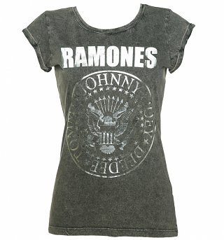 Women's Charcoal Burnout Classic Ramones Logo T-Shirt with Rolled Sleeves