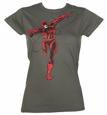 Ladies Charcoal Daredevil Running Marvel T-Shirt