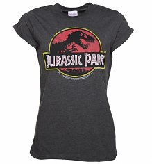 Women's Charcoal Jurassic Park Logo Rolled Sleeve Boyfriend T-Shirt