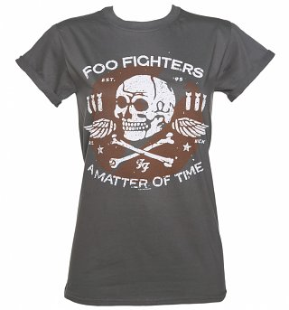 Women's Charcoal Matter Of Time Foo Fighters Rolled Sleeve Boyfriend T-Shirt