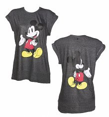 Ladies Dark Grey Marl Mickey Mouse Front And Back Print Disney T-Shirt from Eleven Paris