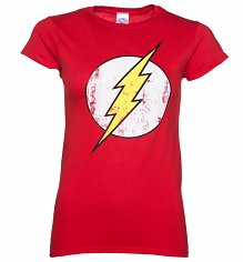 Ladies Distressed DC Comics Flash Logo T-Shirt