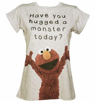 Ladies Elmo Have You Hugged a Monster Today Rolled Sleeve Boyfriend T-Shirt