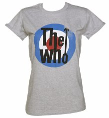 Ladies Grey Marl The Who Target Rolled Sleeve Boyfriend T-Shirt