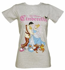 Ladies Grey Marl Walt Disney's Cinderella Dance T-Shirt from Fabric Flavours