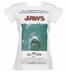Ladies Jaws Movie Poster Rolled Sleeve Boyfriend T-Shirt