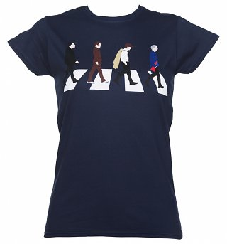 Ladies Navy Doctor Who Timelords Abbey Road T-Shirt