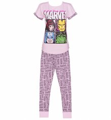 Ladies Pink Marvel Comics Characters Pyjamas
