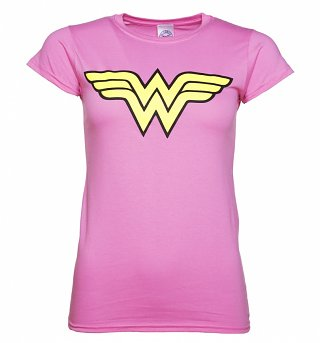 Ladies Pink Wonder Woman Logo T-Shirt