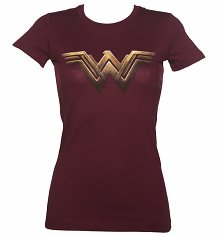 Ladies Dark Red Batman V Superman Wonder Woman Logo T-Shirt