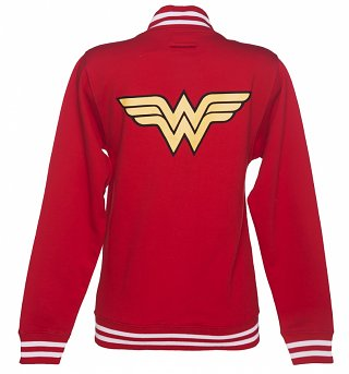 Ladies Red DC Comics Wonder Woman Logo Varsity Jacket