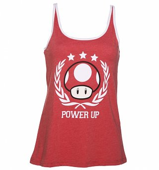 Ladies Red Nintendo Power Up Strappy Vest
