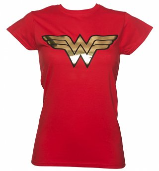 Ladies Red Wonder Woman Gold Logo T-Shirt