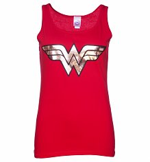 Ladies Red Wonder Woman Gold Logo Strappy Vest