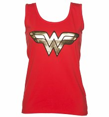 Ladies Red Wonder Woman Gold Logo Vest