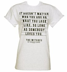 Women's Roald Dahl The Witches Rolled Sleeve Boyfriend Quote T-Shirt