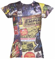 Ladies Star Wars Comic Print Sublimation T-Shirt