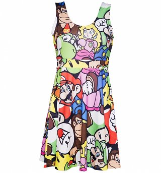Ladies Super Mario Brothers Montage Skater dress