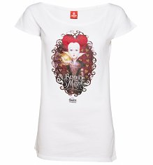 Women's White Disney Alice In Wonderland Beyond The Mirror Slouchy T-Shirt