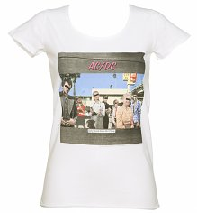 Women's White Dirty Deeds Album Cover T-Shirt from Amplified