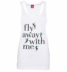 Ladies White Disney Tinker Bell Fly Away With Me Raceback Vest