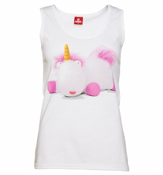 Ladies White Fluffy The Unicorn Minions Vest