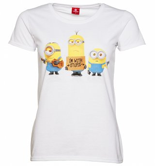 Women's White Minions I'm With Stupid T-Shirt