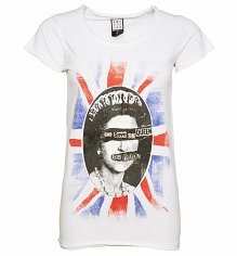 Women's White Sex Pistols God Save The Queen T-Shirt from Amplified