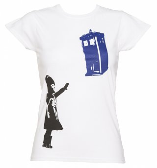 Ladies White Stencil Doctor Who TARDIS T-Shirt
