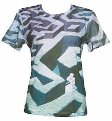 Ladies Disney Alice In Wonderland Lost In The Hood Maze Print Oversized T-Shirt from Eleven Paris